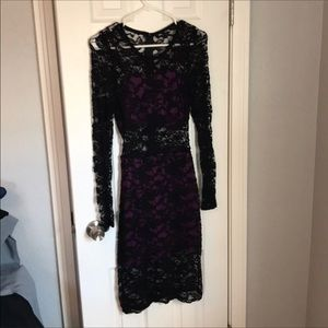 Black and purple  lace dress with long sleeve